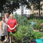 Sue Petts, Justin Oh and Julia Barclay of the Bevin Community Gardens. Pic: Jodi Moore